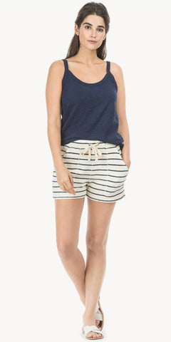Pull On Shorts in Navy Stripe