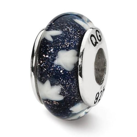 Navy with White Stars Glass Bead