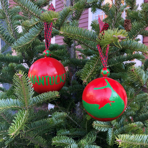Red & Green Nantucket Island Ornament