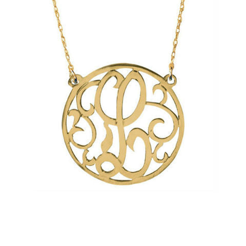 Round Rim Script Initial Necklace by Jane Basch