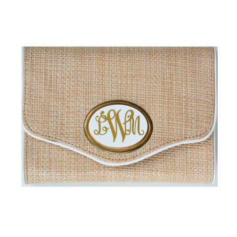Monogram Sadie Clutch in Straw/White