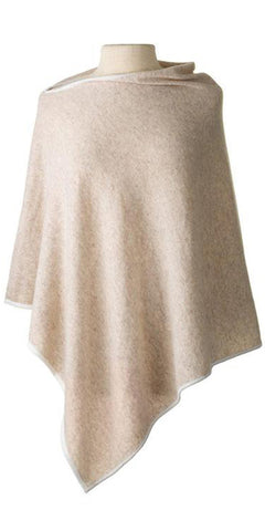 Cashmere Cape in Sand Tipped with Ecru