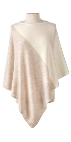 Cashmere Color Block Cape in Ivory/Sand