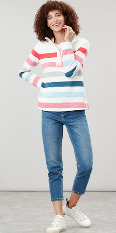 Saunton Sweatshirt in Cream Pink Stripe