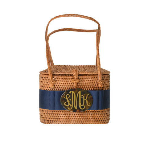 Monogram Savannah Bag with Navy Ribbon