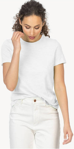 Short Sleeve Back Seam Tee in White