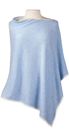 Cashmere Cape in Sky Tipped with Ecru