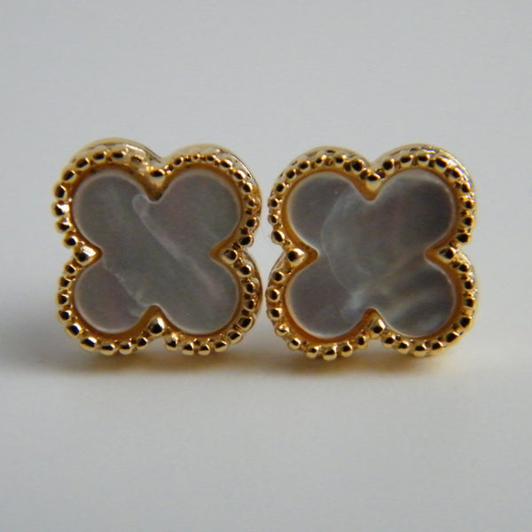 Small Gold Mother of Pearl Quatrefoil Stud Earrings