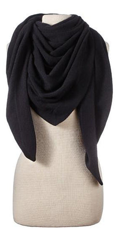 Cashmere Solid Triangle Wrap in Black