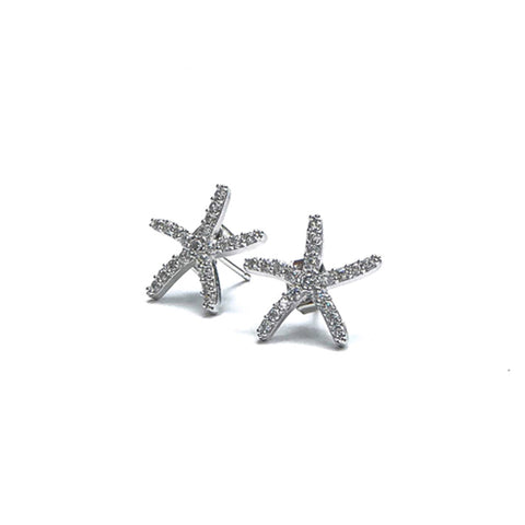 Silver Spiny Starfish Earrings
