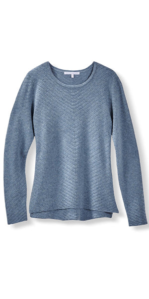 Cashmere Chevron Crew Sweater in Stonewash