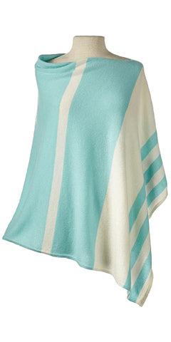 Cashmere Striped Cape in Aquamarine/Ecru