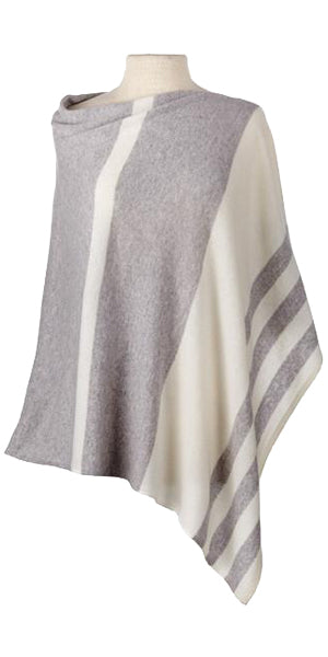 Cashmere Striped Cape in Birch/Ecru