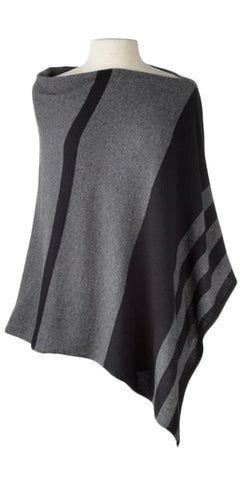 Cashmere Striped Cape in Black/Charcoal