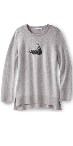 Nantucket Island Cashmere Sweater in Birch w/ Charcoal Island