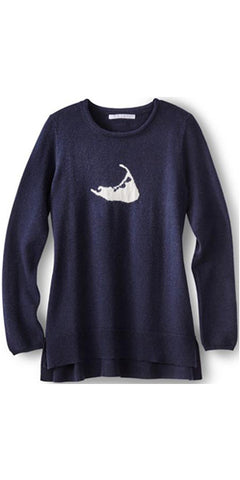 Nantucket Island Cashmere Sweater in Dark Navy w/ White Island