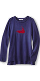 Nantucket Island Cashmere Sweater in Navy w/ Red Island