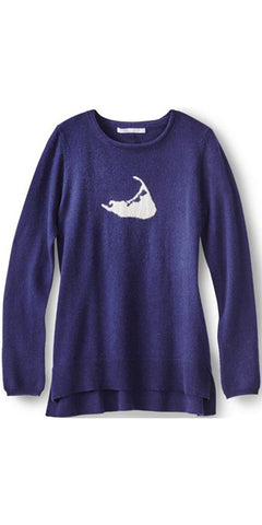 Nantucket Island Cashmere Sweater in Navy w/ White Island