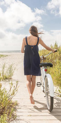 Tie Back Dress in Navy