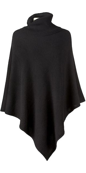 Cashmere Turtleneck Cape in Black