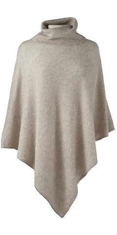 Cashmere Turtleneck Cape in Sand
