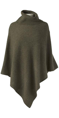Cashmere Turtleneck Cape in Olive Heather