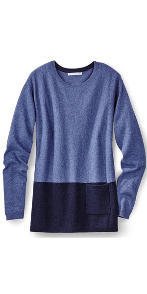 Vivienne Color Block Crew Sweater in Denim/Midnight