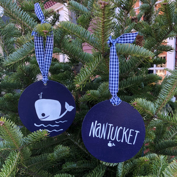 Navy Whale Flat Round Ornament