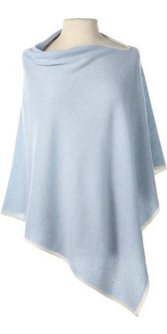 Cashmere Cape in Winter Blue Tipped With Ecru