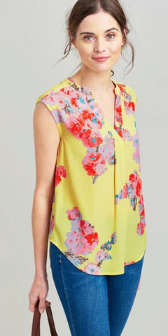 Jae Sleeveless Top in Lemon Floral by Joules