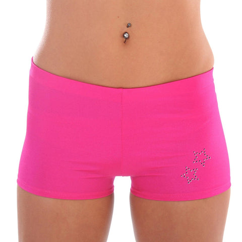 Stretch Lycra Shorts with Diamante Detail W0110