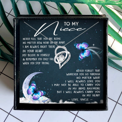 I WILL ALWAYS CARRY YOU IN MY HEART - NECKLACE FOR NIECE FROM UNCLE