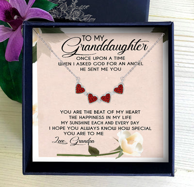 YOU ARE THE BEAT OF MY HEART - NECKLACE FOR GRANDDAUGHTER FROM GRANDPA