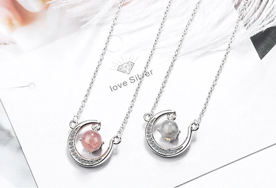 I LOVE YOU TO THE MOON AND BACK - CRYSTAL CLAVICLE NECKLACE FOR FIANCÉE