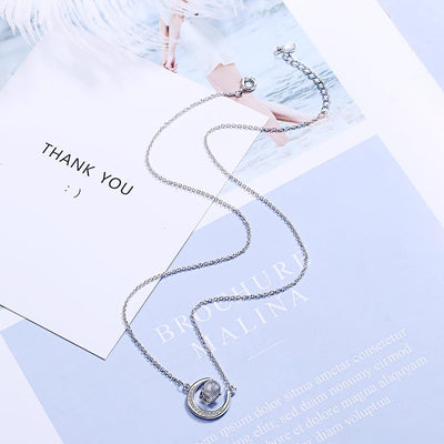 NEVER FORGET HOW MUCH I LOVE YOU - CRYSTAL CLAVICLE NECKLACE FOR GRANDDAUGHTER
