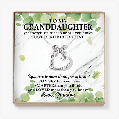 YOU ARE BRAVER THAN YOU BELIEVE - NECKLACE FOR GRANDDAUGHTER FROM GRANDPA