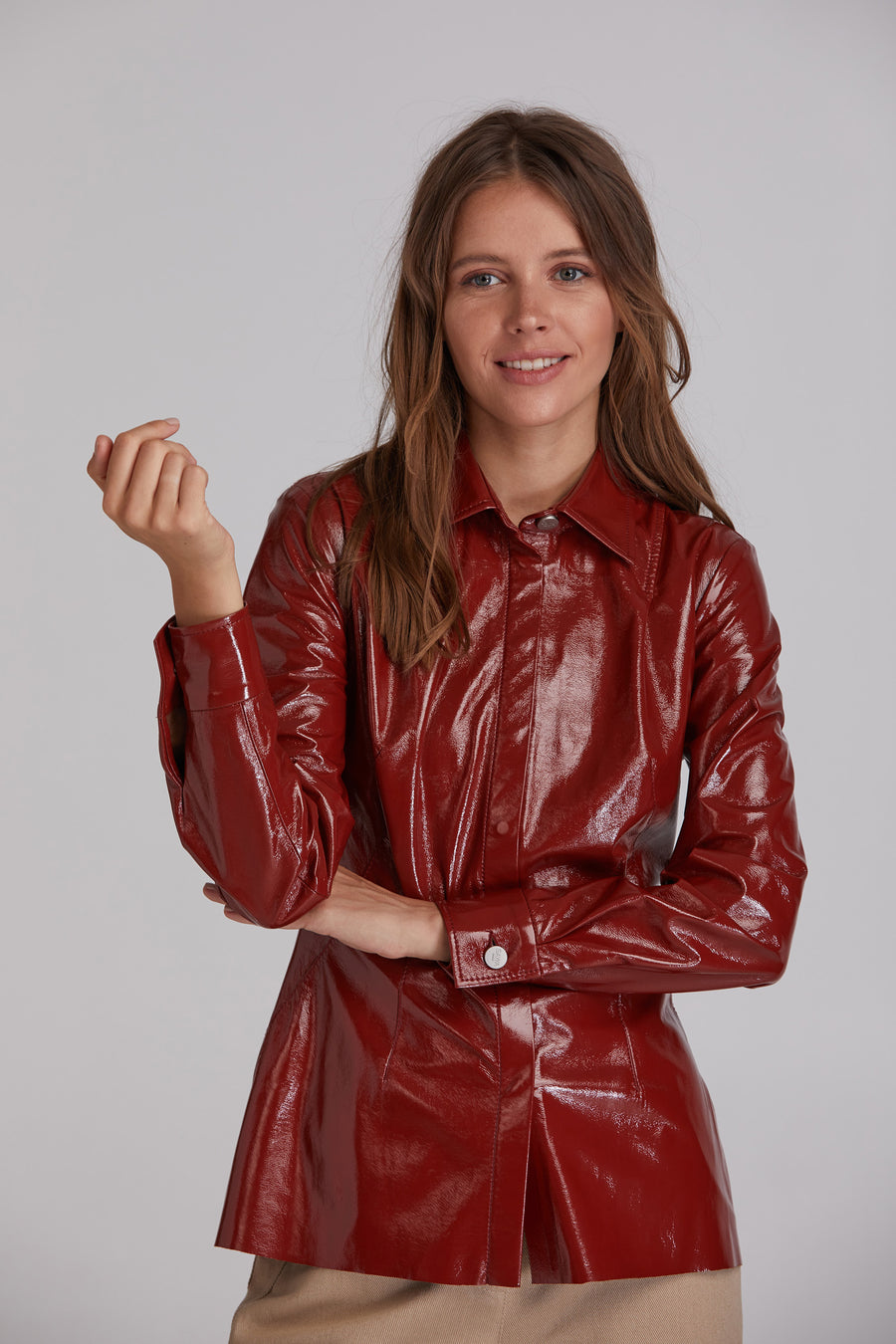 Faux patent leather shirt