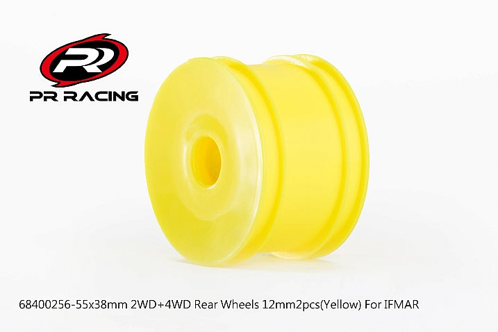 68400256 55x38mm 2WD+4WD Rear Wheels 12mm*2pcs(Yellow)For IFMAR-#1