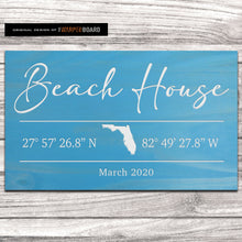 Load image into Gallery viewer, Beach House Sign with GPS Coordinates and State