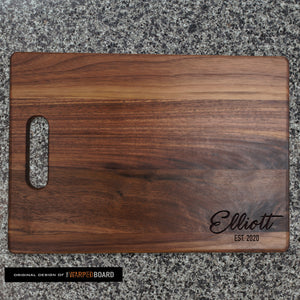 Family Name and Established Date Walnut Cutting Board