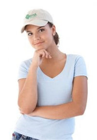 Female model wearing baseball cap with embroidered logo.