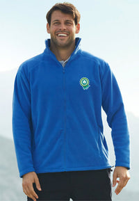Male model wearing fleece jacket with embroidered logo.
