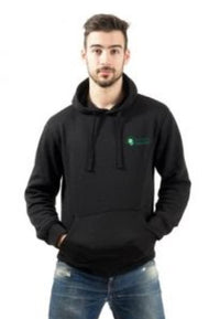 Young male model wearing black hoodie with embroidered logo.