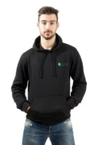 Young man wearing black hoodie with embroidered crest