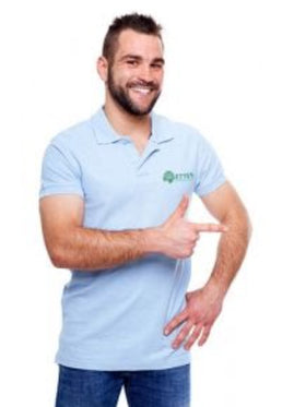 Man wearing polo shirt with embroidered logo