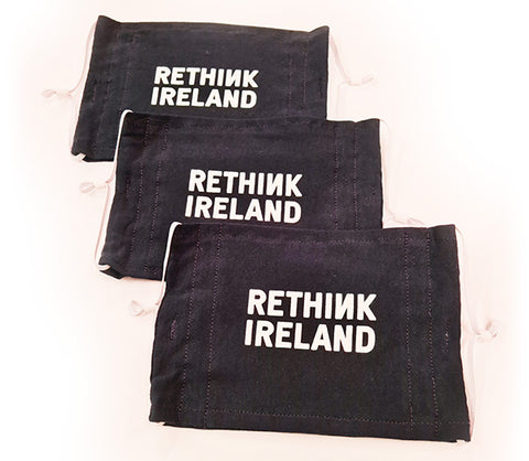 3 black washable face coverings featuring Rethink Ireland logo