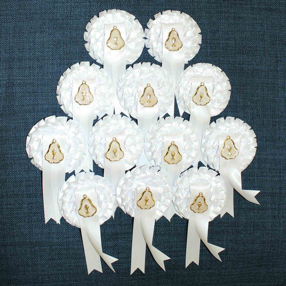 First Holy Communion Rosette Badges with Medal : 12 Pack