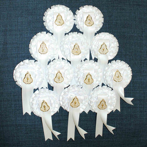 Load image into Gallery viewer, First Holy Communion Rosette Badges with Medal : 12 Pack