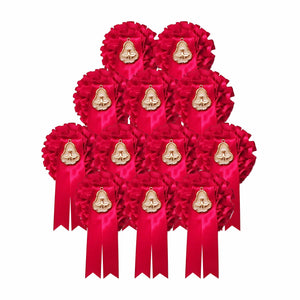 Confirmation Rosette Badges with Medal : 12 Pack