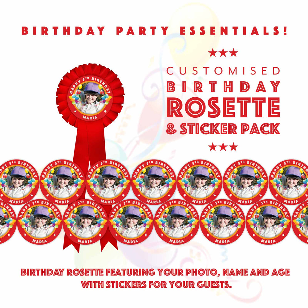Load image into Gallery viewer, Birthday Rosette & Sticker Pack
